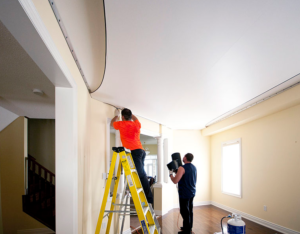 this picture shows los angeles popcorn ceiling removal stretch ceiling team